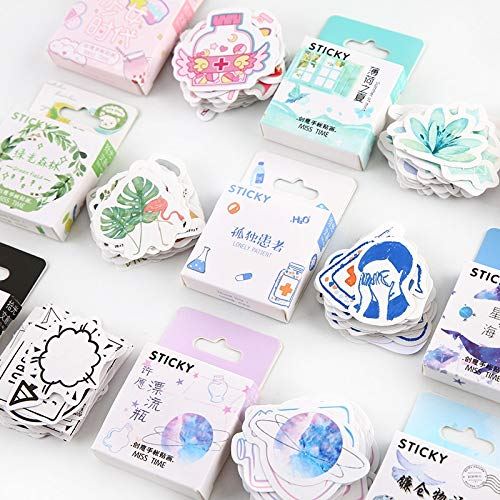 BLOUR Green Field Cute Animals Kawaii Paper Stickers Diary DIY Scrapbooking Label Sticker Stationery46pcs / Pack