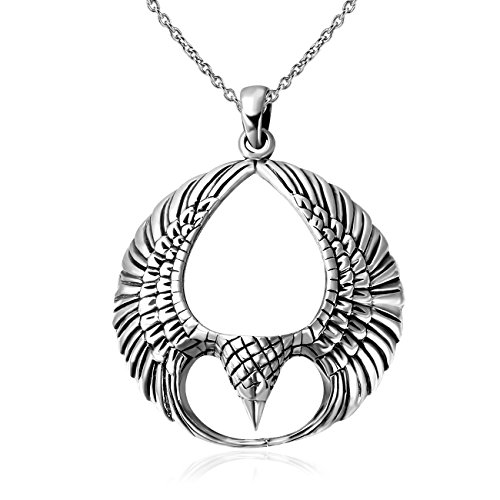 925Sterling Silber oxidiert Spread offen Phoenix Flügel Anhänger Halskette 45,7cm