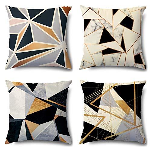 Artscope Samt Geometrische Kissenbezug Dekorative Super Weich Kissenhülle mit Marmorierung Muster Dekokissen für Sofa Bett 45x45cm 4er Set