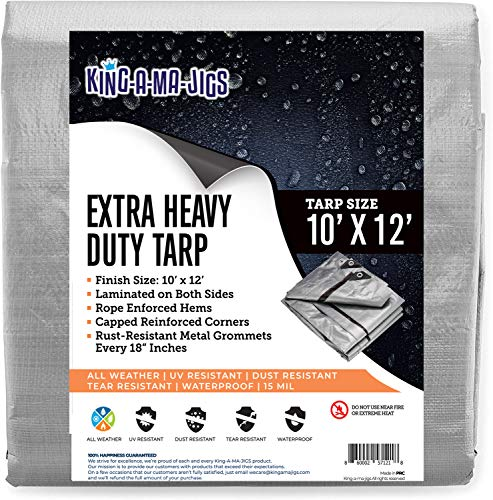 10x12 Super Heavy Duty Tarp, Extra Thick 15 Mil Waterproof Plastic Poly Tarpaulin with Metal Grommets Every 18 Inches - for Roof, Outdoor, Patio. Rain or Sun (Reversible, Silver and Black) (10x12)