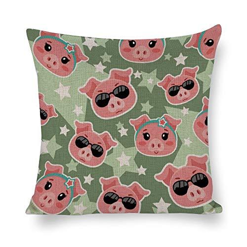 Funda de almohada de algodón y cáñamo, diseño de cerdos rosas y bonitos, funda de cojín, funda de almohada corporal, funda de almohada, almohada de sofá, almohada decorativa para cama o sofá, estilo1, 19.7*19.7in