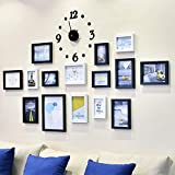 AYY 15 Sets Collage de Pintura de Pared Sala de Estar Marco de Imagen Pared Fondo de Restaurante Creativo Decoración de la Pared, con Reloj de Pared Creativo y Plantilla para Colgar, Blanco y Negro