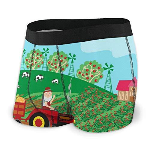 Dydan Tne Großvater Fahren Traktor mit Ernte Obst Männer Stretch Boxer Briefs Kurze Unterwäsche Flat-Angle Customized