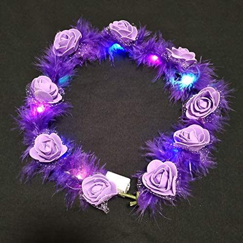 RORORO Female Children LED Light Up Wreath Crown Fluffy Feather Artificial Floral Angel Halo Headband Garland Bandana Festival Party Headwear