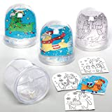 Baker Ross AX596 Festive Llama Color in Snow Globes Kits - Box of 4, Christmas Arts and Crafts Supplies for Kids This Festive Season