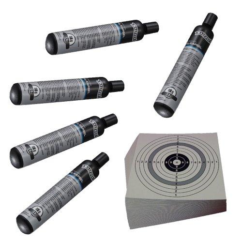 Unbekannt ShoXx.® Set: 5 Walther Co2 Kapseln 88 Gramm für Gotcha/Softair/Paintball + 10 ShoXx.® Shoot-Club Zielscheiben 14x14 cm mit zusätzlichen grauen Ring und 250 g/m²