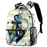 Mochila náutica ancla floral mariposa rayas mochila escolar viaje casual...