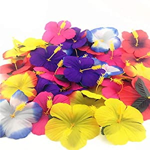 Sc0nni 72 Pack Hibiscus Flowers for Tabletop Decoration Party Favor Party Decoration Confetti Party Favors