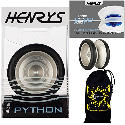 Henrys PYTHON Pro YoYo (Black) Metal Professional String Trick (1A, 3A, 5A) Bearing YoYo +Instructional Booklet of Tricks & Travel Bag! Top Of The Range YoYo! Pro YoYos For Kids and Adults.