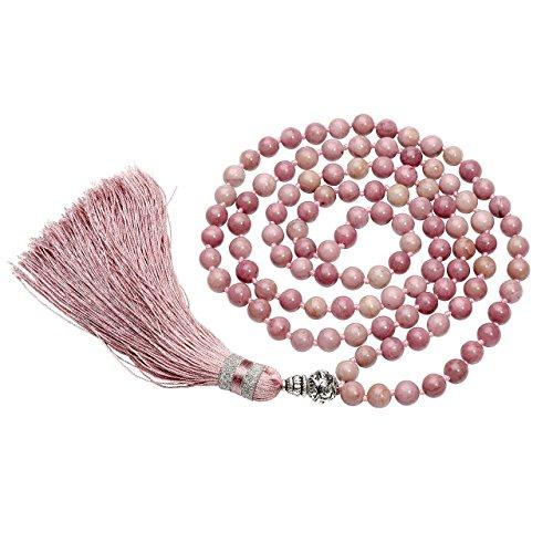 CrystalTears 108 Perlen Edelstein Yoga Armband Wickelarmband Om mani Padme hum Buddha Gebetskette Healing Reiki Stein Mala Kette Halskette mit Quaste (Rhodochrosit)
