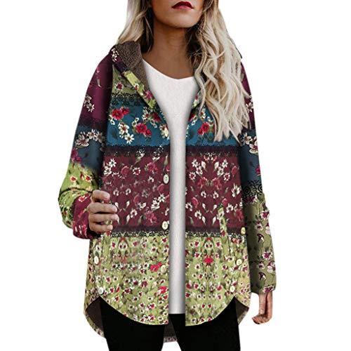 Xmiral Damen Mäntel Parka Winter Warm Blumendruck Hooded Taschen Vintage Oversize Outwear Fleece Plüsch Übergröße Jacke Daunenjacke(q Grün,L)