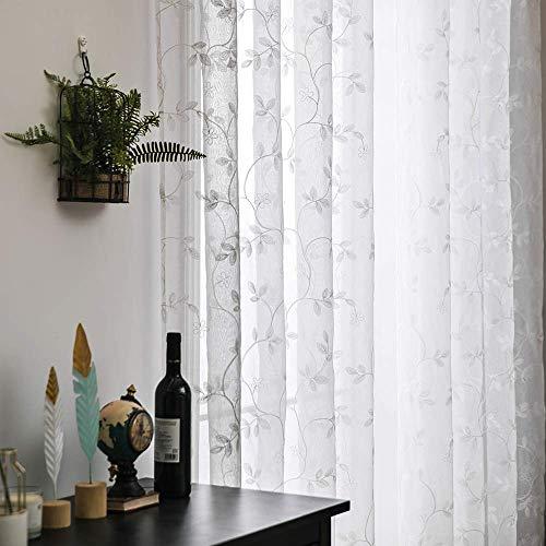 MIULEE Cortinas Bordado Visillo con Flores Moderno Translucido de Salon Dormitorio Ventana Visillos Transparentes para Sala Cuarto Infantil Comedor Salon Cocina Habitación 2 Hojas 140x245cm Blanco