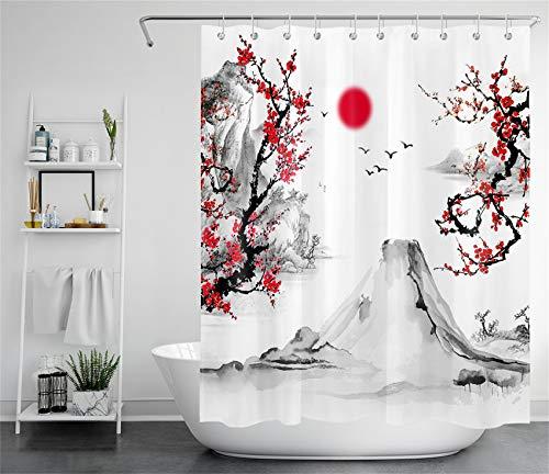 LB Cortinas de Baño Ukiyo-e japonés 150X180CM Paisaje de Primavera de Flor roja del Monte Fuji Cortina de Ducha con Ganchos,Impermeable Antimoho Poliéster Cortina de Baño