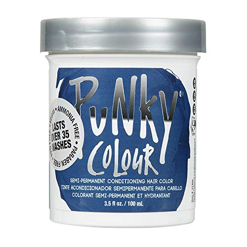 Punky Midnight Blue Semi Permanent Conditioning Hair Color, Non-Damaging Hair Dye, Vegan, PPD and Paraben Free, Transforms to Vibrant Hair Color, Easy To Use and Apply Hair Tint, lasts up to 35 washes, 3.5oz