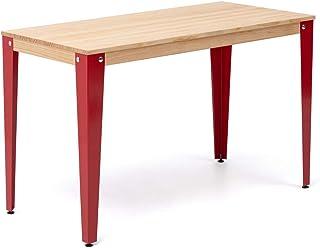 Table Lunds Bureau Salle à manger ou bureau 120 x 60 x 75 cm Rouge en bois massif de pin Finition naturelle Style nordique...