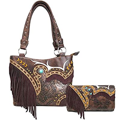 Zelris Women Tote Handbag Wallet Set Turquoise Concho Suede Fringe Two Tone Cowgirl Concealed Carry Purse (Western Brown)