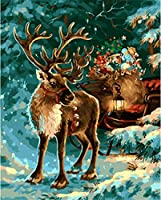 ダイヤモンドペイントキット ダイヤモンドアート トナカイ ホリデーギフト クリスマスツリー ラウンドフルドリル スノーペイント ダイヤモンドモザイク作り 絵画アート 冬刺繍キット ホームウォール装飾用 11.8x15.8インチ