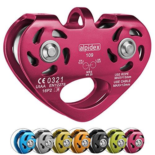 ALPIDEX Seilrolle Tandem Pulley Umlenkrolle Doppelseilrolle - geeignet für Stahlseile 8-12 mm Ø und Textilseile bis 13 mm Ø, Farbe:pink