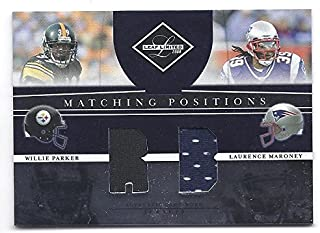 LAURENCE MARONEY WILLIE PARKER 2008 Leaf Limited Matching Positions #14 DUAL Game-Worn JERSEY Card #023 of only 100 Made! Pittsburgh Steelers New England Patriots Football