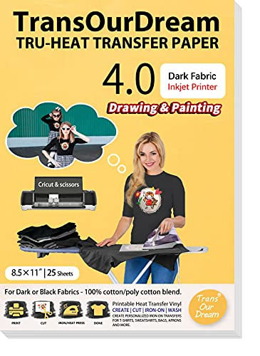 """TransOurDream Iron on Heat Transfer Paper for T Shirts (25 Sheets 8.5x11"""", Dark 4.0) Drawable & Printable HTV Heat Transfer Vinyl for Inkjet Printer DIY Iron On transfers for T Shirts (TRANS-D4-20)"""