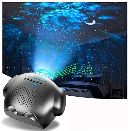 Sternenhimmel Projektor, 4 in 1 LED Nachtlicht Baby mit Ferngesteuerte, LED Lampe Projektor mit Mond Wasserwellen Bluetooth Musik Lautsprecher Galaxy Light Projector für Baby Kinder Schlafzimmer Party