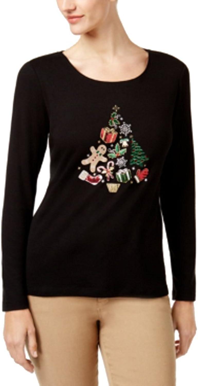 Karen Scott Petite Cotton Embroidered Holiday Top