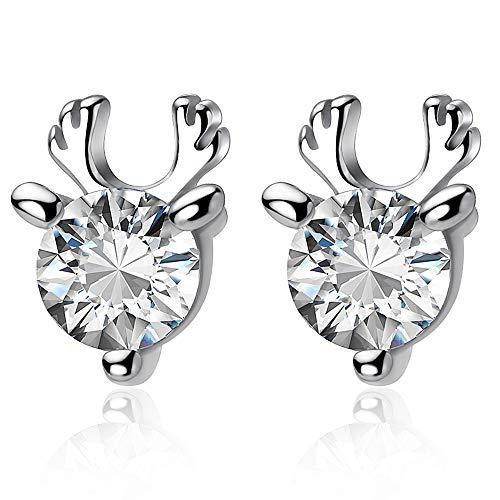 YooAi Reindeer Stud Earrings Elk Animal Earrings Rhinestone Antlers Earrings Rhinestone Elk