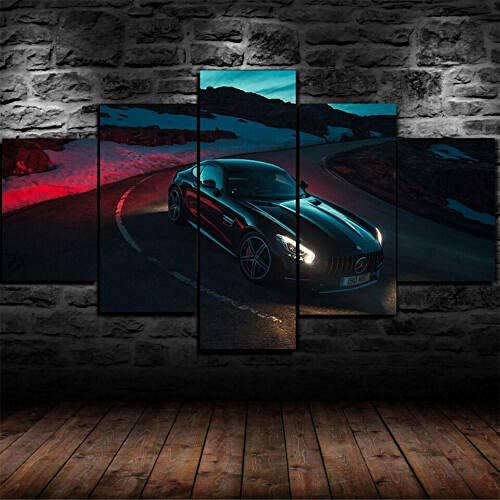 5Tdfc Wandkunst Leinwanddrucke Bilder Tapete Mercedes Heimdekoration Plakate mit Rahmen