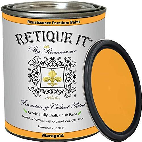 Retique It Chalk Finish Paint by Renaissance - Non Toxic, Eco-Friendly Chalk Furniture & Cabinet Paint - 32 oz (Quart), Marigold