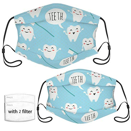 Cute Dentist Dental Hygienist Print Face Mask with 2 Pcs Filters, Reusable and Washable, Adjustable Elastic Earrings Soft and Breathable Kids Face Mask Balaclava,for Older Children and Adults