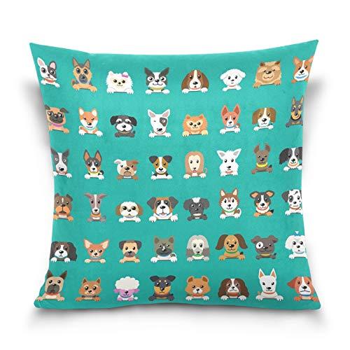 HMZXZ Funda de almohada decorativa de 40,6 x 40,6 cm, diseño de caras de perro de dibujos animados, fundas de cojín para sofá, dormitorio, sala de estar