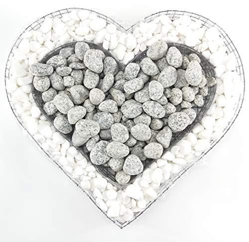 Gartenwelt Riegelsberger Herz Gitter mit kleinen Carrara & Granit Royal Steinen für Allerheiligen Grabschmuck Grabgestaltung Grabdeko Pflanzschale