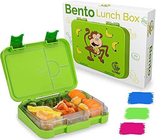 TAKWAY Kinder Bento Box mit Fächern grün   Brotbox mit Unterteilung variabel 4 oder 6 Fächer   Brotdose mit Fächern Kindergarten Schule KiTa   Jausenbox mit Unterteilung Kinder
