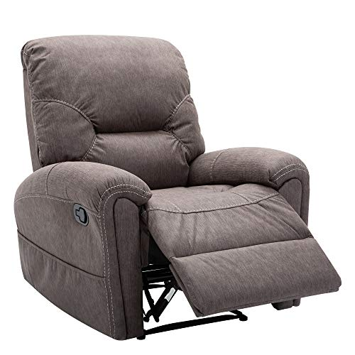 Bonzy Home Recliner Air Suede Manual Recliner Chair Modern Recliner Sofa Chair Home Theater Seating - Bedroom & Living Room Reclining Sofa Chair (Taupe)