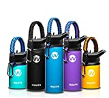 WaterFit Vacuum Insulated Water Bottle - Double Wall Stainless Steel Leak Proof BPA Free Sports Wide...