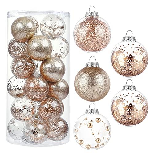 Kesote Set di 24 Palle Natalizie Palle Glitter per Albero di Natale Addobbi Decorativi di Natale, 6CM, Oro Rosa