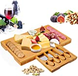 Bamboo Cheese Board Set with Drawer Wooden Charcuterie Tray Platter Including 4 Stainless Steel Knife and Serving Utensils, Gift Idea for Birthdays, Wedding Registry, Housewarming
