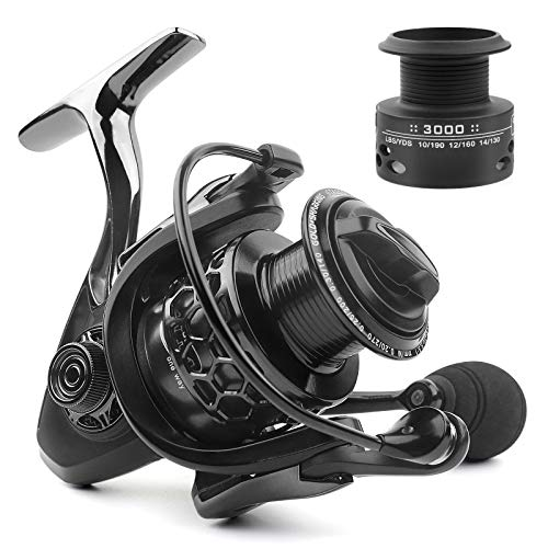 Spinning Fishing Reel 5.5:1 14+1 BB Smooth Double Bearing Powerful Lightweight Fishing Reel CNC Aluminum Spool & Handle with A Spare Spool for Saltwater or Freshwater Fishing 2000-5000 (GTA 3000)