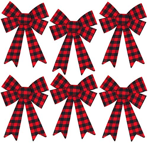 Iconikal 5-Loop Red Buffalo Plaid Flannel Bows 9 x 12-Inch, 6-Pack