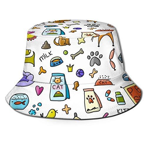 Hdadwy Fondo de Tienda de Mascotas para su diseño 672 Bucket Hat Summer Fisherman Cap para Mujeres Hombres