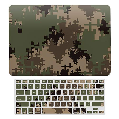 For MacBook Pro 13 Inch Case A1706, A198, A2159, Hard Shell & Keyboard Case Cover for Apple Mac Pro, Military Camouflage Digital Pattern Laptop Protective Shell Set