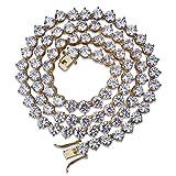 Moca Jewelry Collar de cadena de tenis chapado en oro de 18 quilates, 1 fila de 4 mm de ancho, con diamantes de imitación de laboratorio, para hombres y mujeres