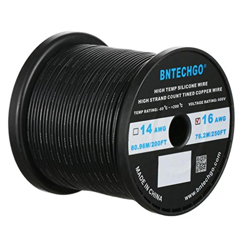 BNTECHGO 16 Gauge Silicone Wire Spool 250 ft Black Flexible 16 AWG Stranded Tinned Copper Wire