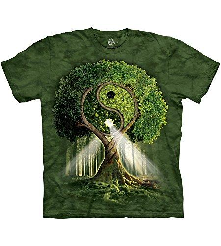 The Mountain Yin Yang Tree Adult T-Shirt, Green, Medium