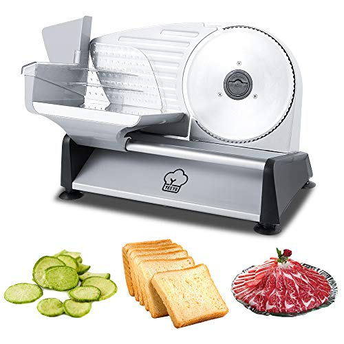 """YEEYO Bread Cutting Machines Electric Food Slicer with 7.5"""" Removable Stainless Steel Serrated Blade,Adjustable Knob for Thickness,Commercial & Home Use Deli Meat Slicer,Cheese,Food Carriage,Non-Slip Feet, 200Watt"""