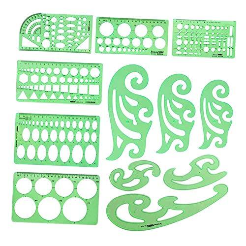 Baoblaze 12Pcs Geométrica Desenho Template Régua de Medição, Ferramentas Régua de Plástico Verde Transparente para Estudar, Elaboração de material de Concepção