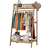 porte-manteaux bois étagère sur pied penderie portant à vêtements en bambou avec porte-manteau le (taille : 100cm)