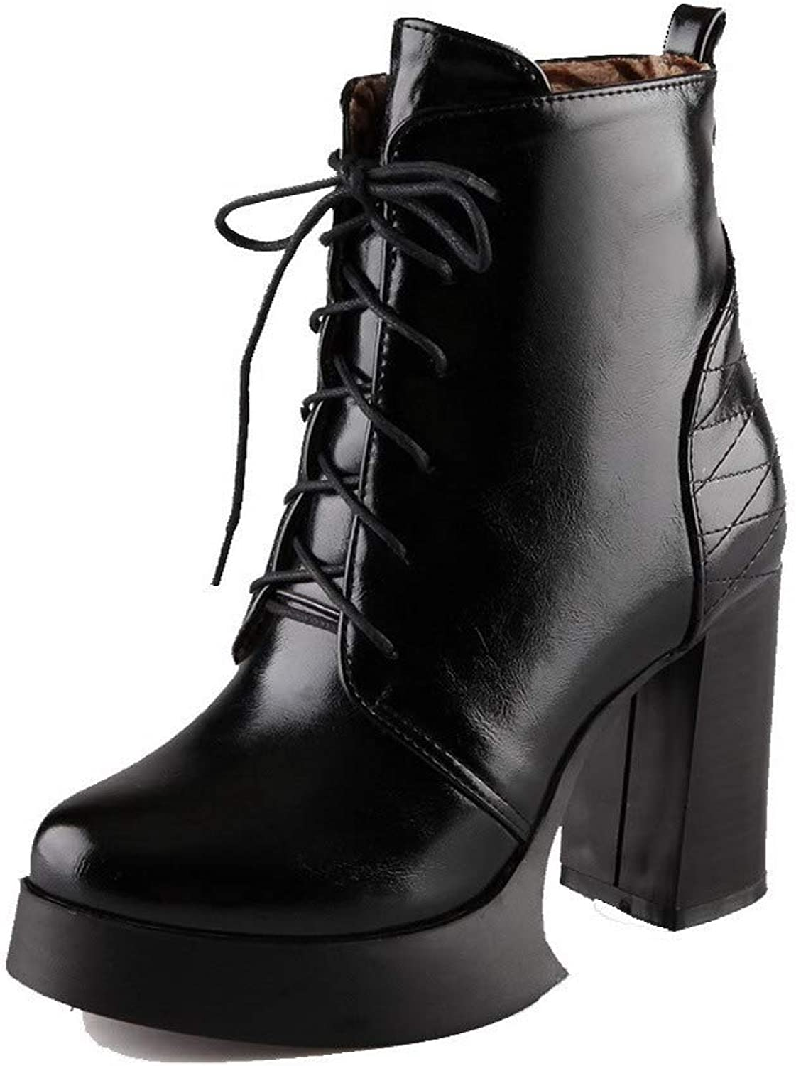 AllhqFashion Women's Solid Pu High-Heels Lace-Up Closed-Toe Boots, FBUXD122663