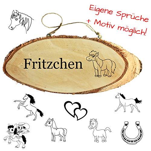 Geschenkissimo Namensschild für Pferde als Boxenschild, Stallschild, personalisiert mit Name, Spruch, Motiv, für Pferdefreunde, Reiter und Reiterinnen, Holzschild zur Deko