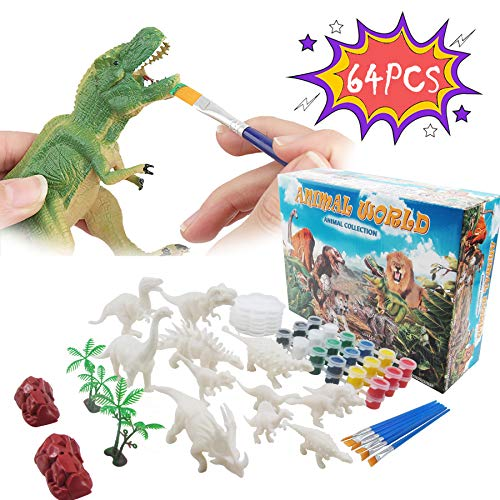Rapify 64 PCS 3D Dinosaur Toys for Kids DIY Arts Crafts and Supplies Set Painting Kit, Decorate Your Dinosaur, Dinosaur Modeling, STEM Educational Set Toys for Kids Boys Girls Age 4 5 6 7 8 Years Old